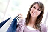 Pensive shopping woman