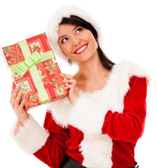 Female Santa with a gift