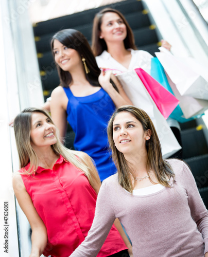 Women at a shopping center