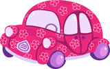 Funny pink old-fashioned auto with white flowers