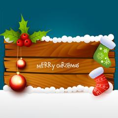 christmas illustration of wood background