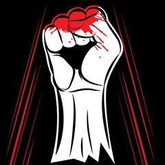 Vector fist held in protest