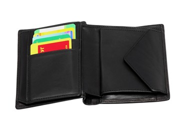 Black leather wallet with credit cards