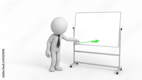 Cartoon businessman with indicator. It shows on the board