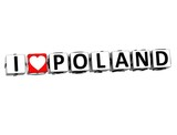 3D I Love Poland Button Click Here Block Text
