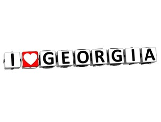 3D I Love Georgia Button Click Here Block Text