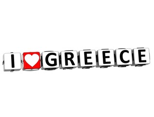 3D I Love Greece Button Click Here Block Text