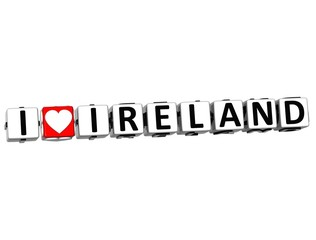 3D I Love Ireland Button Click Here Block Text