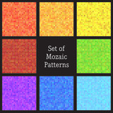 Set of vector patterns of colorful mosaic.