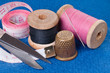 Sewing Kit on blue fabric