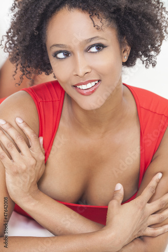 Happy Sexy Mixed Race African American Girl