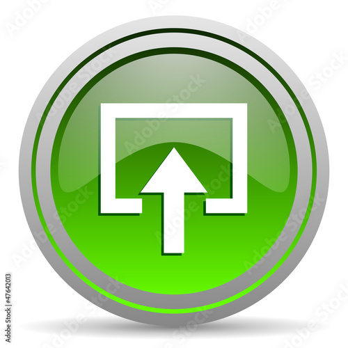 enter green glossy icon on white background