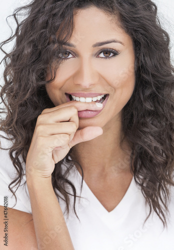 Beautiful Happy Woman Biting Her Finger