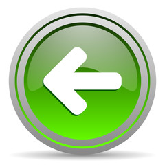 arrow left green glossy icon on white background