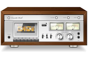 Vintage HI-Fi analog stereo cassette tape deck recorder player v