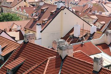 Tiled roofs of Prague, Czech Republic.