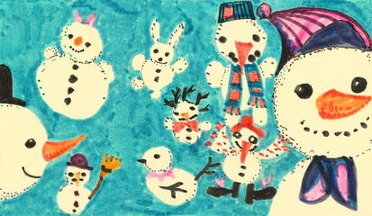Group of Funny Childish Snowman