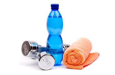 fitness dumbbells and water
