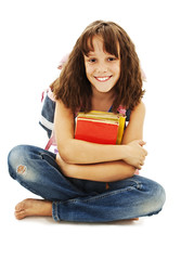 Portrait of smiling school girl with rucksack holding books