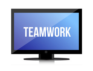 Teamwork copy on a flatscreen