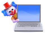 Clown behind laptop