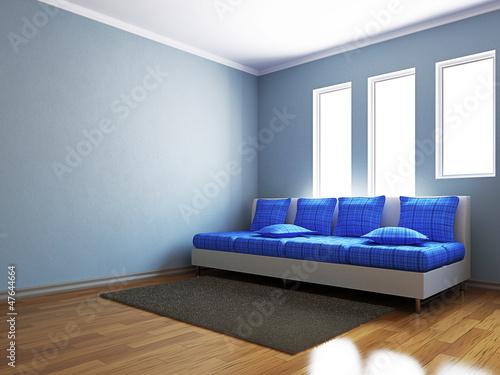 Livingroom with blue sofa