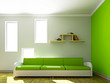 Green sofa and  in the livingroom