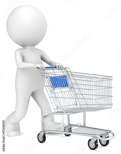 3D little human character with pushing a Shopping Trolley. Blue.
