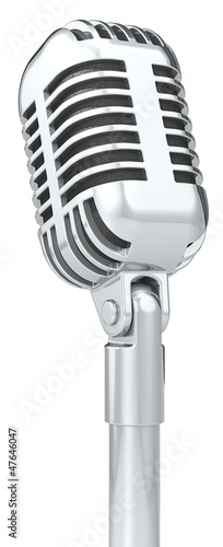Mic. Classic Microphone on a stand. Isolated.