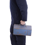 tradesman holding toolbox poster