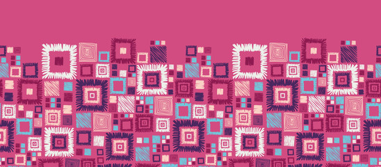 Vector colorful geometric squares horizontal seamless pattern