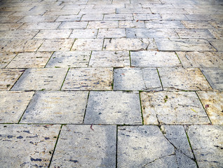 wet pavement flagstones of the city of Burgos