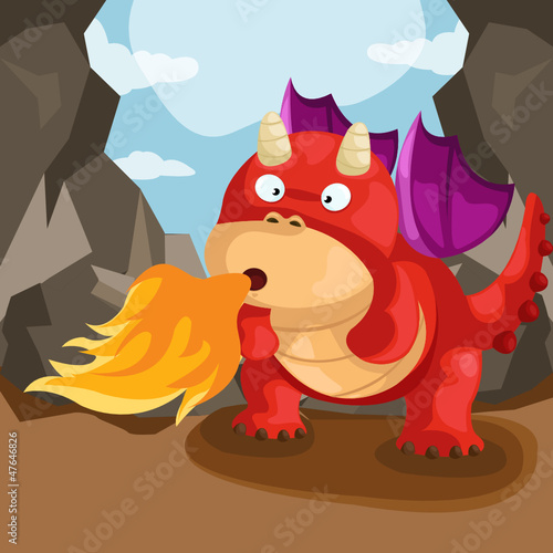 cute dragon blow fire