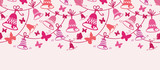 Vector bells and butterflies horizontal seamless pattern