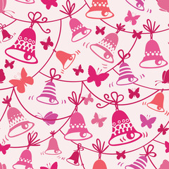 Vector bells and butterflies seamless pattern background with