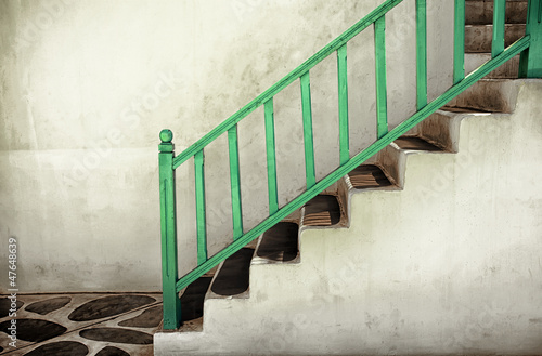 Dirty stairs with handrails - 47648639
