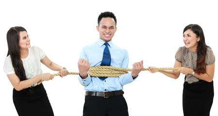 man executive tied by his employee