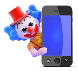 Clown behind smartphone