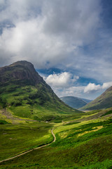 Beautiful footpath in the Scotland highlands in summer