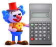 Clown reaches for calculator