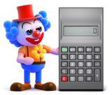 Clown reaches for calculator