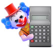 Clown reaches round the calculator