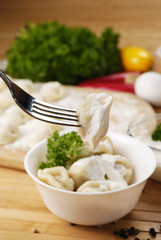 Fresh boiled meat dumplings