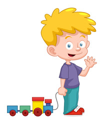 illustration of Cartoon boy with train toy