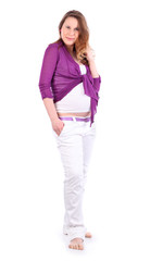 Barefoot pregnant woman wearing in white pants isolated on white