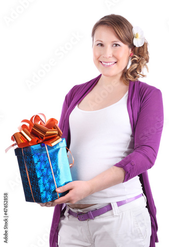 Pregnant woman with flower in hair holds box with gift isolated