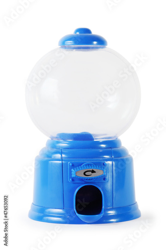 Blue plastic miniature empty candy machine isolated on white