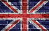 Fototapety Great Britain flag on brick wall