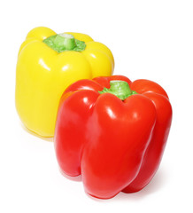 Close up of two colored peppers vegetables isolated