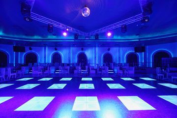 Dance area with blue light